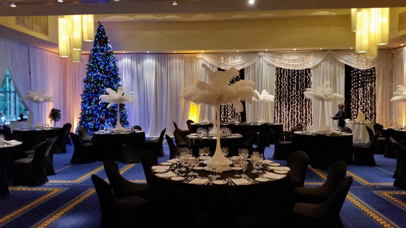 Draping, Feather Centrepieces, Black Linens, Lough Rynn