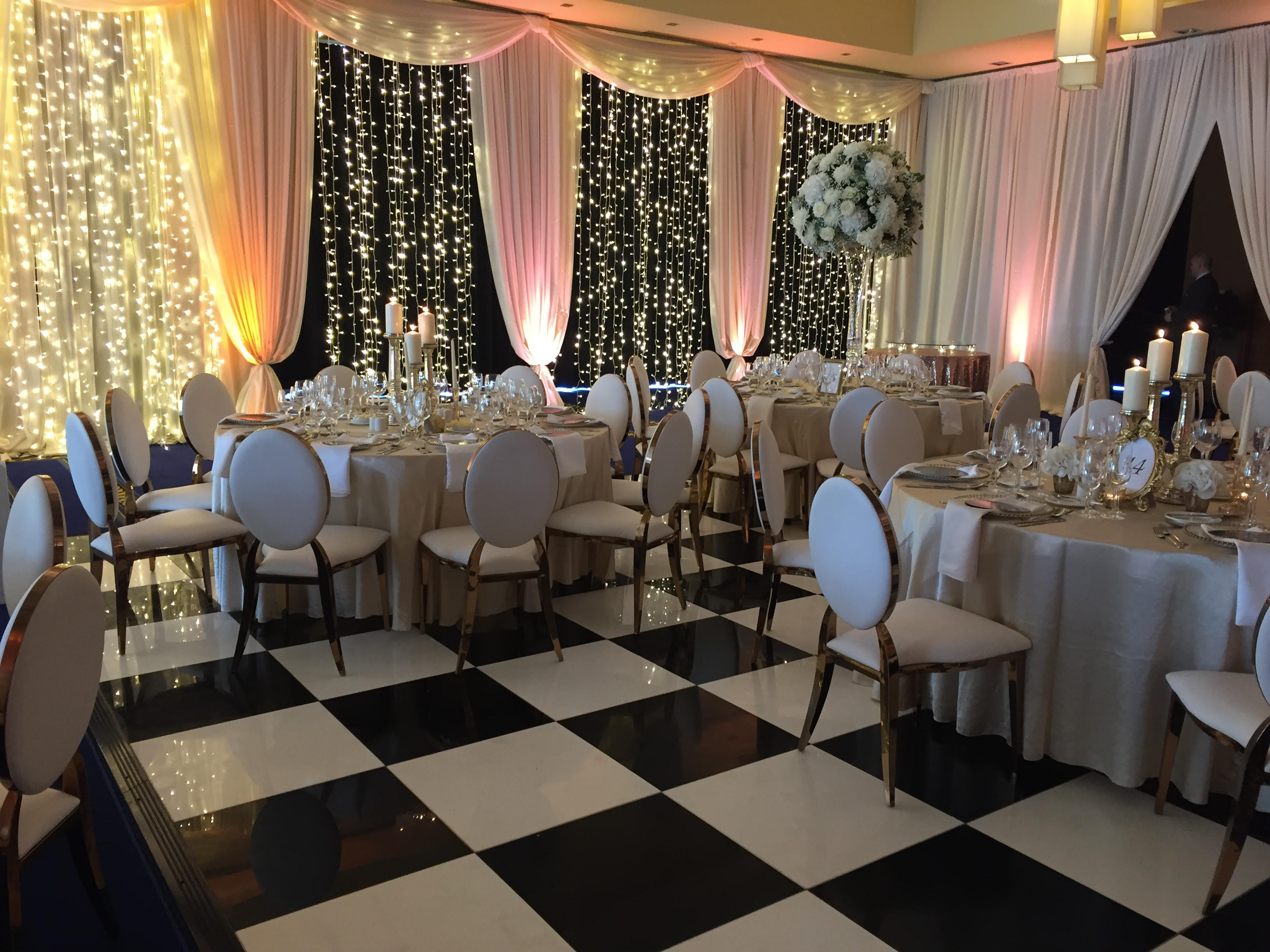 Lough Rynn draping and fairy light backdrop